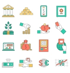 Banking business icons set vector image
