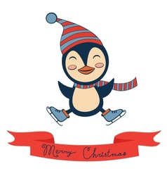 Christmas card with cute little penguin vector image vector image