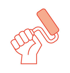 hand human with paint roller isolated icon vector image vector image