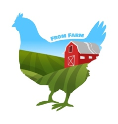 Hen with farm background inside Concept of fresh vector image vector image