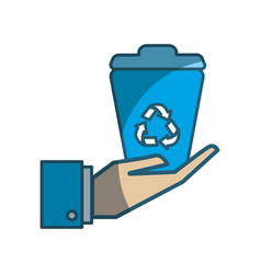Recycle can in the hand icon vector