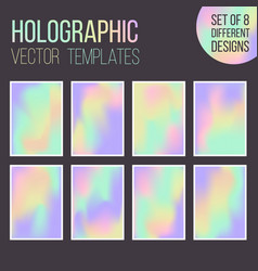 set of holographic gradient templates vector image