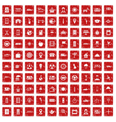 100 taxi icons set grunge red vector image