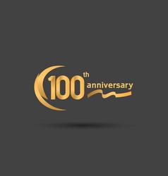 100 years anniversary logotype with double swoosh vector