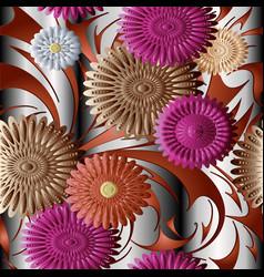 3d flowers seamless pattern surface vector