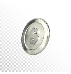 3d silver coin with dollar sign vector