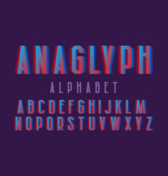 Anaglyph alphabet cyan red vibrant font isolated vector