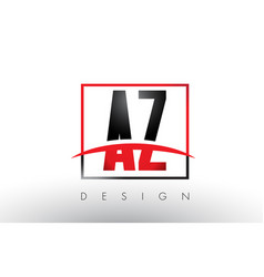 Az a z logo letters with red and black colors vector