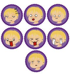 badges with manga faces 2 vector image vector image
