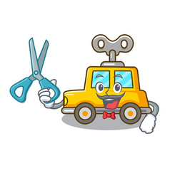 Barber character clockwork car for toy children vector