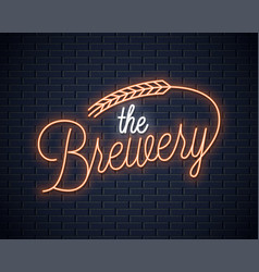 beer vintage neon lettering brewery neon sign vector image