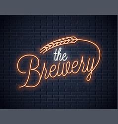 beer vintage neon lettering brewery neon sign vector image