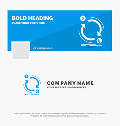 Blue business logo template for exchange currency vector