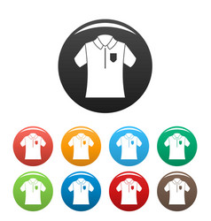 bowling polo shirt icons set color vector image