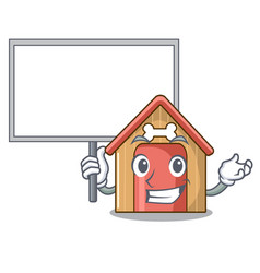 Bring board cartoon funny dog house with dish vector