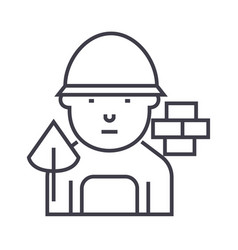 builder line icon sign on vector image