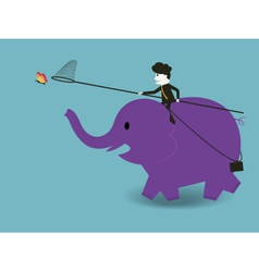 businessman to ride an elephant to catch a butterf vector image