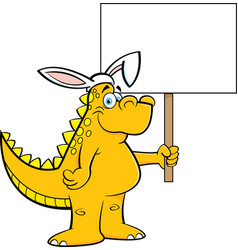 Cartoon dinosaur wearing rabbit ears and holding a vector