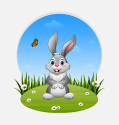 cartoon happy rabbit standing on the grass vector image