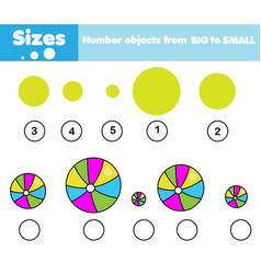 Children educational game learning sizes vector