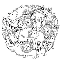 circle shape coloring page with safari animals vector image