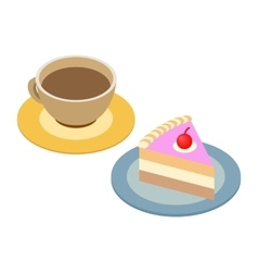 Coffee cup and piece of cake vector