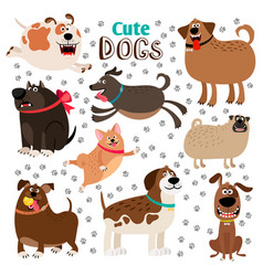 Collection of cute cartoon dogs vector