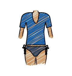 Color pencil drawing of woman with swimsuit thong vector