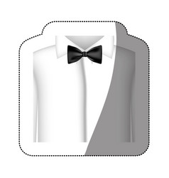 color sticker shirt with bow tie icon vector image