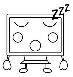Computer monitor kawaii icon image vector