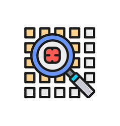 computer virus search security system flat color vector image
