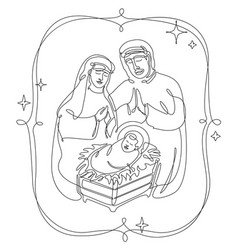 Continuous line drawing the birth jesus vector