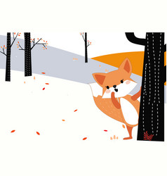 Cute dog or fox in the spring sumer forest vector