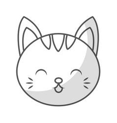 Cute shadow cat face cartoon vector