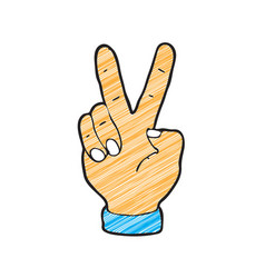 digitally drawn greetings two fingers design hand vector image