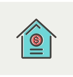 Dollar house thin line icon vector image