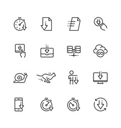 download icon set in thin line style vector image