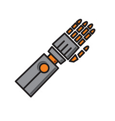 Droid arm prosthesis icon on white background for vector