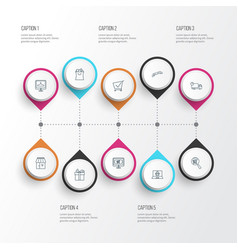 ecommerce icons line style set with delivery vector image