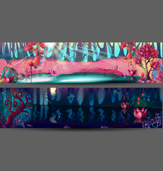 enchanted forest horizontal banners vector image