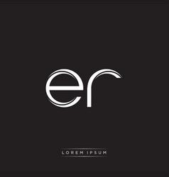 er initial letter split lowercase logo modern vector image