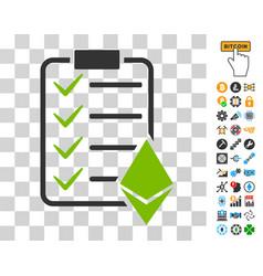 Ethereum smart contract icon with bonus vector