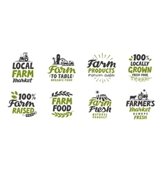 Farm icons set natural organic food Symbol vector image