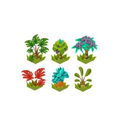 Flat set of cartoon fabulous plants nature vector