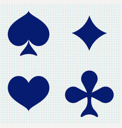 four cards suits - diamonds clubs spades hearts vector image