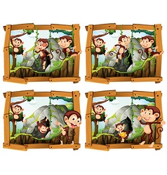 Four frames of monkeys by the cave vector image