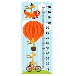 Giraffe on transport height measure vector