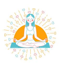 girl yoga inear style vector image