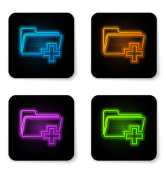 glowing neon add new folder icon isolated on vector image