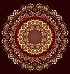 Gold round floral ornament Floral mandala vector